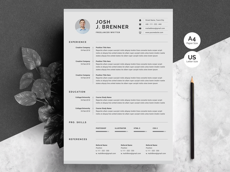 Clean Cv Template By White Graphic On Dribbble