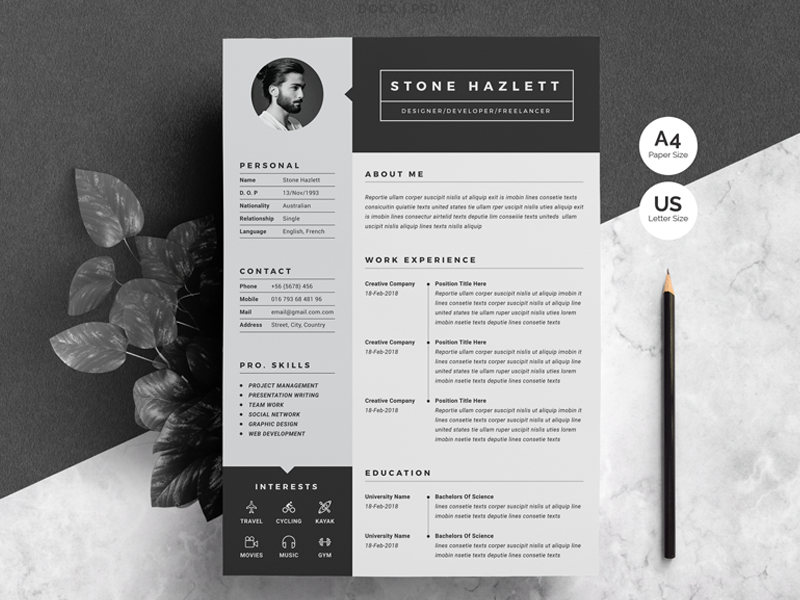 resume cv template 2 pages by white graphic dribbble dribbble