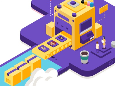 Apps Factory vector digital art yellow illustration isometric factory apps