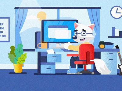 Keep calm and Code on illustrator flat illustration design vector illustration character design mascot fox designer developer