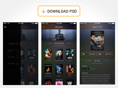 Free Movie App UI PSD free movie app ui psd mockup download iphone gui