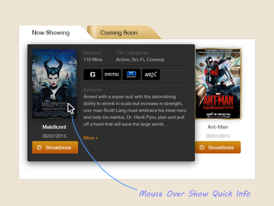 Mouse Over Show Quick Info popup lightbox movie showtime box design web ui