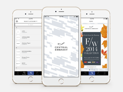 Central Embassy mall minimal layout shopping sketch iphone clean mockup design ui app