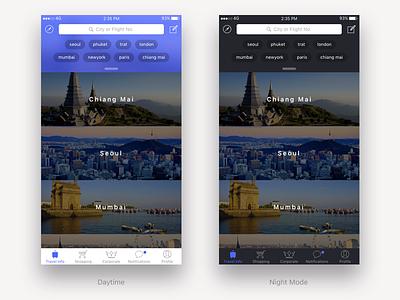 Travel App mockup travel night ui mobile