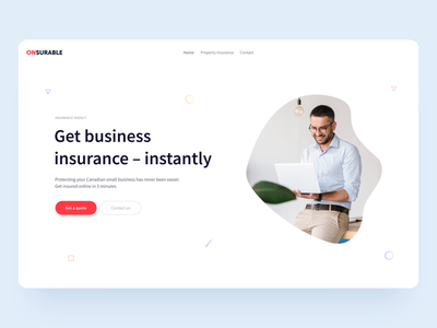 Onsurable Landing white website web ux ui simple motion minimal landing page interaction interface gif digital design corporate blue clean business after effects animation
