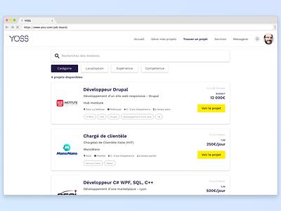 YOSS marketplace - Job Board page header card search bar filters job board