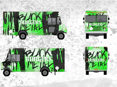 Black Metal Burger's burgers black metal food truck green