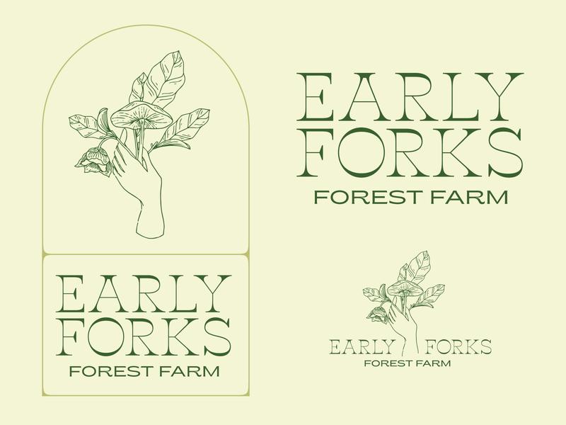 Early Forks Forest Farm logos mushrooms logo designer illustration graphic design farm typography brand identity brand design logo design
