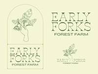 Early Forks Forest Farm logos mushrooms logo designer illustration graphic design farm typography brand identity brand design logo design