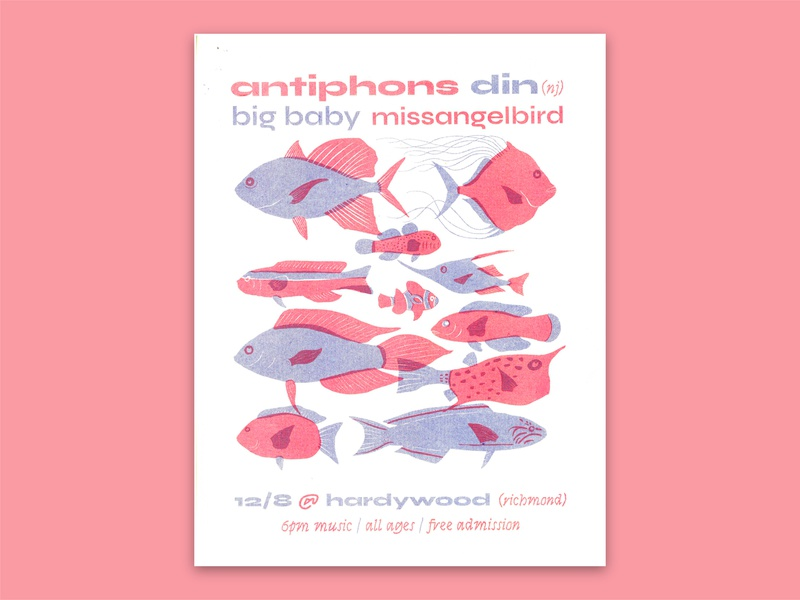 Phons & Fish Riso scan fish rock recital show poster risograph