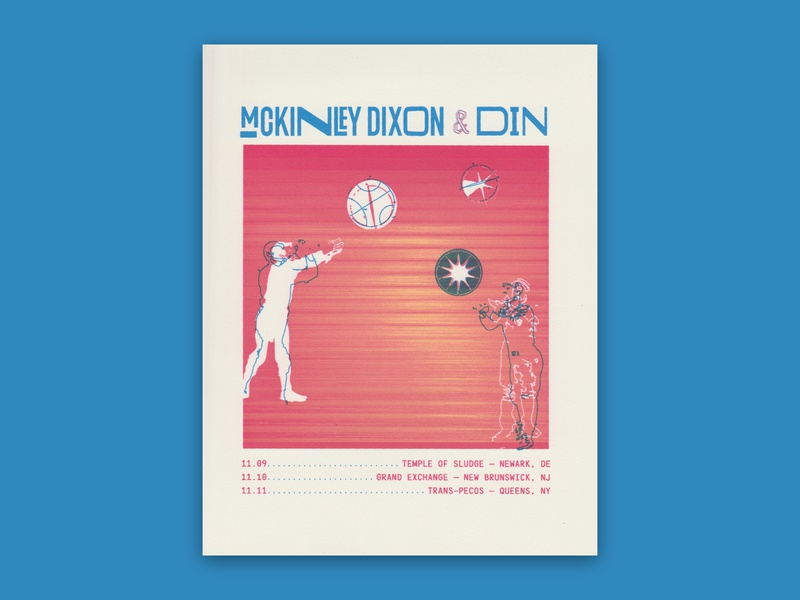 McKinley Dixon + Din Flyer laser print collage found image public domain baseball illustration concert poster