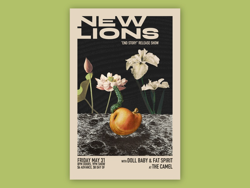 New Lions EP Release Poster graphic design concert flyer poster art found image collage