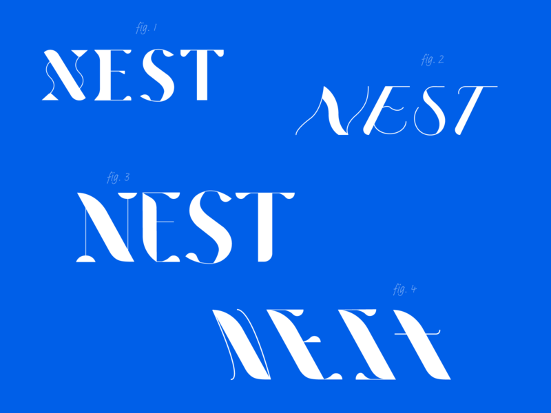 Nest logotype drafts typography graphic design wip rough draft branding type design handlettered lettering logotype