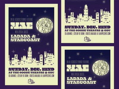 Show poster for Mae + Lava Presents gig poster moon typography poster graphic design concert flyer
