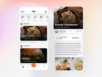 Restaurant Recommendations App food restaurant flat minimal ui app ux