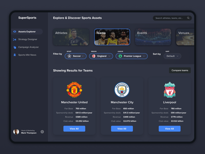 Sports Marketing Platform dashboard minimal flat sports dark web