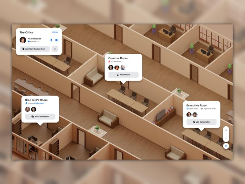 Virtual Office Concept desktop web design game dashboard light illustration virtual office app flat minimal