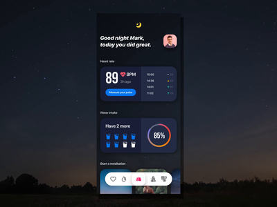 Wellness App Concept dashboard flat minimal relax hearth meditation uiux ui care health ios app dark wellness