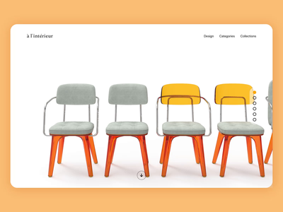 Product Concept Page - Furniture 3d product ui ux website interface elegant landing page web design web minimal interaction design direction concept art direction animation chairs architecture furniture chair