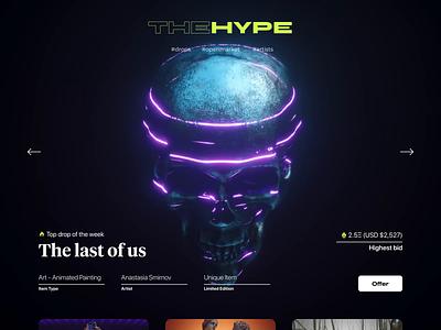 THE HYPE concept experimental 3d landing page interface art direction crypto ethereum cyberpunk design direction ecommerce digital art bitcoin ux ui retrowave dark minimalistic retro fashion