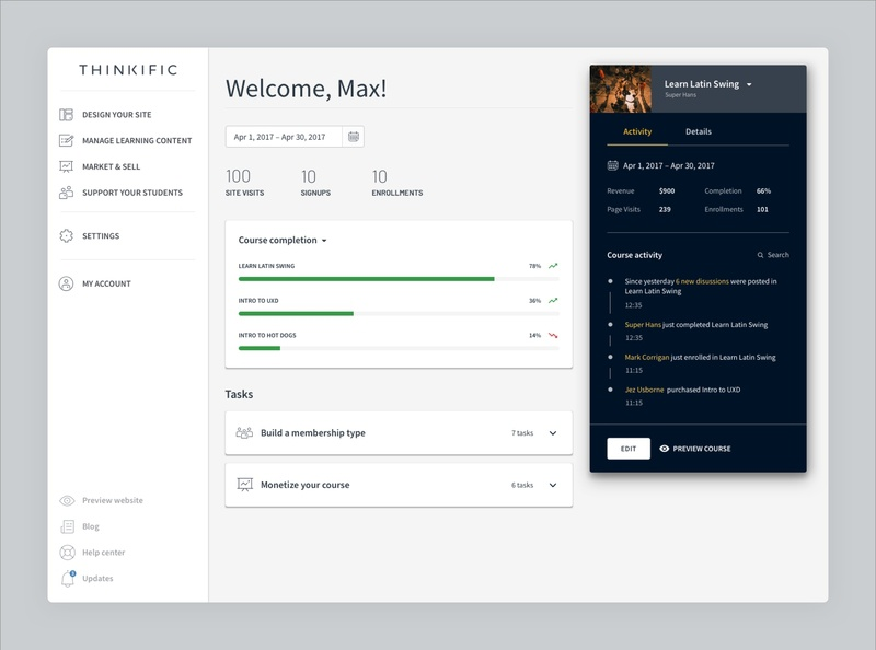 Online Course Creator Dashboard by Adam | Dribbble | Dribbble