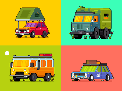 Camping vehicles. car pixel art