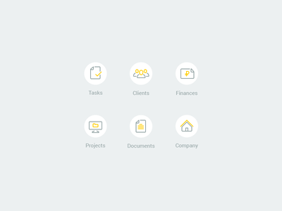 Icons for project management system finances projects flat documents company tasks clients