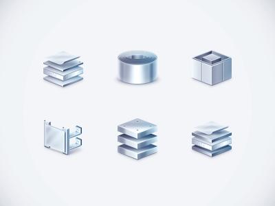 Shiny aluminum panels panel aluminium steel icons metal