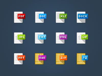 Freebie file type icons flat icons free icons freebie file type long shadow