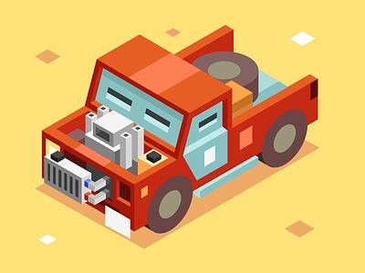 Wasteland car wasteland vector isometric car illustration