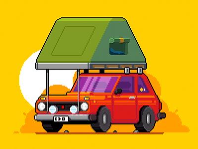 Niva niva car illustration pixel art