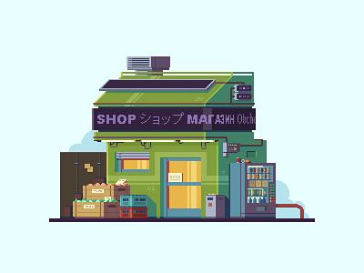 Cyberpunk Shop cyberpunk pixel art