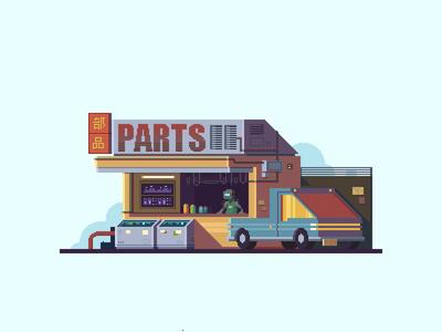 Cyberpunk robot parts store