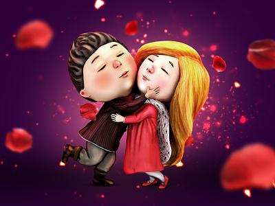 Kai an Gerda gapchinska characters 3d love valentine snow queen gerda kai