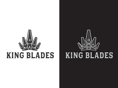 king blades minimal royal branding sharp crown king blade logo logotype