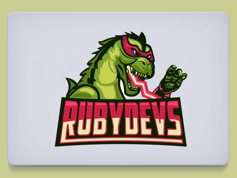 RubyDevs mascot develop mask kaiju logo web developers nerd coding ruby godzilla geek