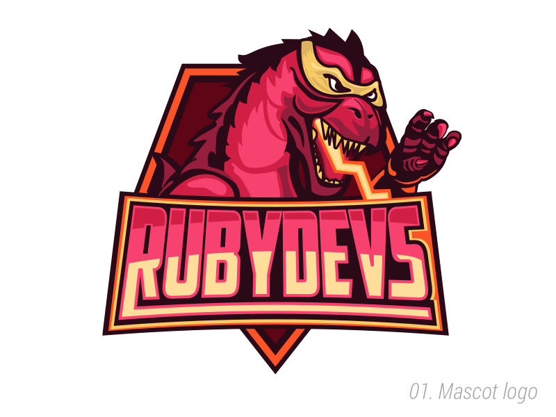 RubyDevs maskot mask devs illustrator logo godzilla coding develop ruby