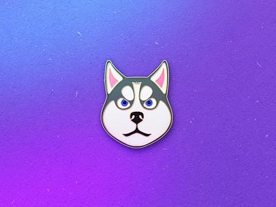 Enamel Pin Husky accesories qmoji mobile dog husky enamel pin