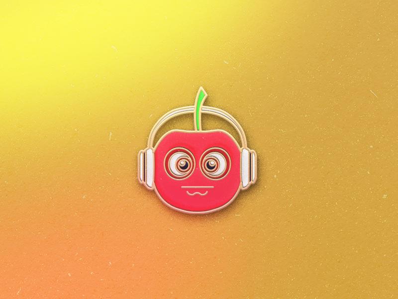 Enamel Pin Cherry qmoji pin mobile enamel apple cherry accesories