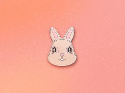 Enamel Pin Rabbit hare rabbit qmoji pin mobile enamel accesories