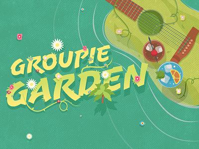 Groupie Garden - Illustration beach guitar drinks garden music