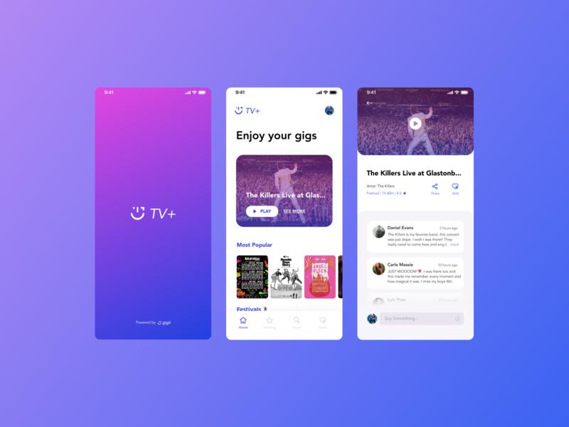 Gig It TV+ music gigs music app tech design ux ui design branding visual design ui interface