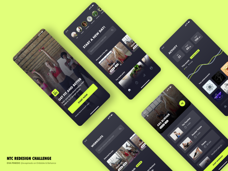 Nike Training Club | Submission for UpLabs ui  ux uxui ux fitness app fitness fit club exercise app training exercise dashboard brand ui design visual design interface ui