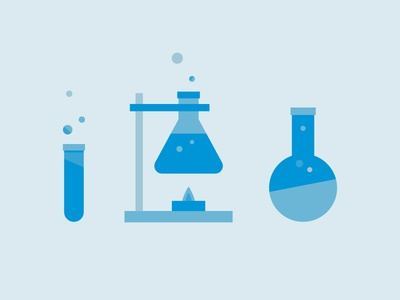 Science Rules flat beakers 2d illustrator vector science
