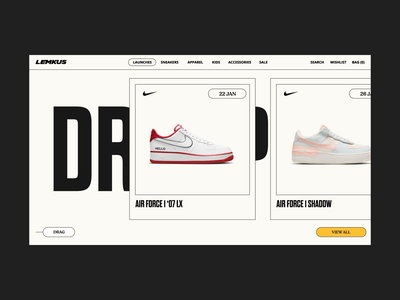 """Lemkus Launches """"Dropping Soon"""" Design product cards slider minimal dropping soon web nike sneakers design interaction design web design ux ui"""