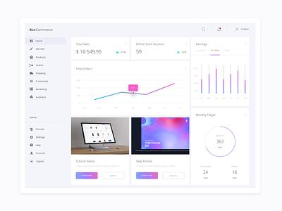 BoxCommerce Merchant Overview Dashboard boxcommerce dashboard ui dashboard design minimal clean ux ui