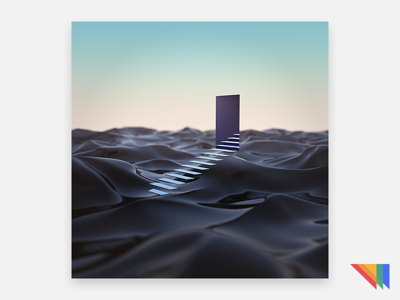 TO EXIT A DREAM desert doorway staircase surreal wallpaper render murderloft cycles blender 5k