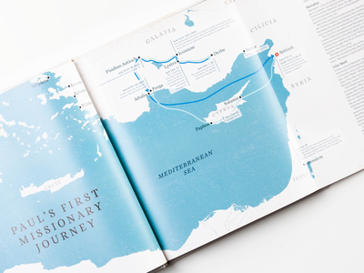 Journeys of the Apostle Paul - interior map paul apostle missionary line travel journey ocean book interior map