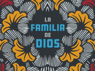 The Family of God illustration yellow spanish type floral print african