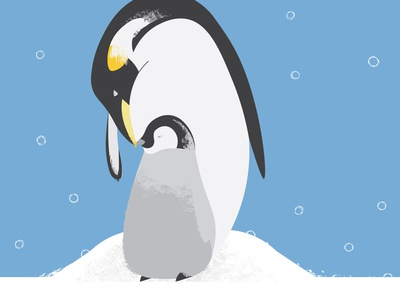 Father's day penguin love snuggle love cold winter snow illustration animal penguin daughter son father